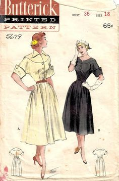 1950s Butterick 5679 Vintage Sewing Pattern Misses Cocktail