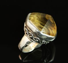 105 carat carved Mandala spiral citrine in sterling silver ring. Custom Jewelry Design, Sterling Silver Jewelry, Spiral, Dan, Mandala, Rings For Men, Carving, Men Rings, Wood Carvings