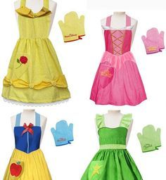 disney princess aprons...perfect for dress up without having to do the full dress!