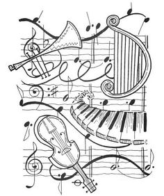 Resultado de imagem para music coloring pages for adults Coloring Book Pages, Coloring Sheets, Music Drawings, Music Crafts, Digi Stamps, Copics, Music Notes, Art Music, Musicals