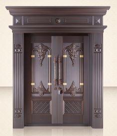 China-made copper door steel door aluminum door parts supplier Wooden Front Door Design, Wooden Double Doors, Modern Wooden Doors, Double Door Design, Custom Wood Doors, Wood Front Doors, Pooja Room Door Design, Door Design Interior, Entry Doors With Glass