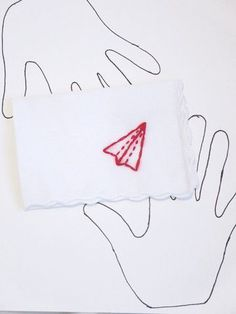 Hand Embroidered Paper Airplane Handkerchief by wrenbirdarts