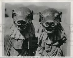 1935 Press Photo of Scary Masks Worn in Traditional Tibetan Devil Dance