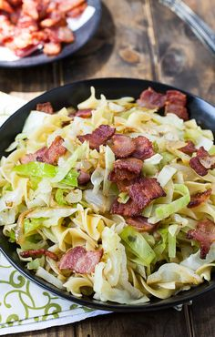 Cabbage and Noodles cooked in bacon. An easy and inexpensive meal.
