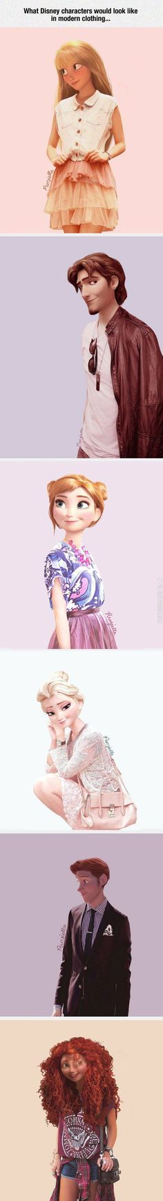 Disney characters in modern clothing.