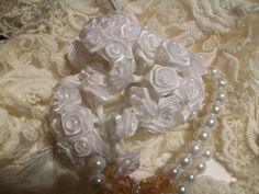 Small   White   FABRIC   FLOWERS by ShoppeLaFluer on Etsy, $3.00