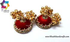 Buy Red Silk thread Hopped Jhumka with Gungaroo beads online! Silk Thread Jhumkas, Silk Thread Earrings, Thread Jewellery, Beaded Jewelry, Diy Jewellery, Jewellery Making, Jewelry Bracelets, Jewelery, Hoop Earrings