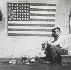 Jasper Johns in his studio on Pearl Street with Flag Robert Rauschenberg, 1954-55, New York