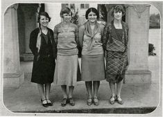 Four women coaches (l to r: Florence Randall, Edith Logan, Ruth Loescher, and Fiametta Rhead) in 1930 at Fullerton College (now part of the North Orange County Community College District) in Fullerton, CA.