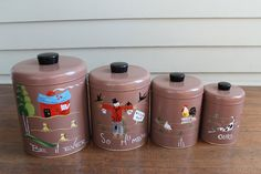 Vintage Brown Hand Painted Farm / Country Kitchen Canisters - Set of 4 (Ransburg, Indianapolis).   WANT IT!