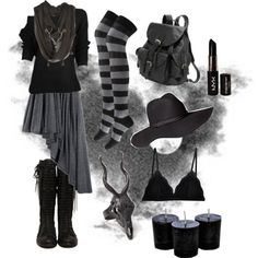 Dark Mori Witch - Black no.1 by bloodmoonsuccubus on Polyvore featuring Forever 21, Cosabella, AmeriLeather, LAS Jewelry, Lee Renee, H&M and NYX