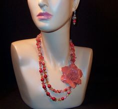 Leather Flower Power Tastefully Orange Necklace & Earrings Set from ruthsredemptions on Ruby Lane