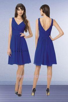 Bill Levkoff Bridesmaid Dress 762 | Chiffon sleeveless V neck short dress. Diagonal pleats embellish the bodice. MOH dress.