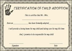 Fresh Child Adoption Certificate Template – Amazing Certificate Template Ideas Blank Certificate Template, Certificate Format, Education Certificate, Adoption Certificate, Printable Certificates, Voter Card, Aadhar Card, Reference Letter, Style