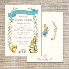 I just had to pin it!!! Peter Rabbit Baby Shower Invitation by tickledpinkpaperie on Etsy, $35.00