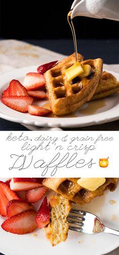 Gluten Free, Grain Free & Keto Waffles 🥞 Just 1g net carb per waffle! #keto #ketodiet #ketobreakfast #lowcarb #healthyrecipes