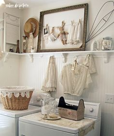 I love this laundry room. I found a wire rug beater, like the one in the picture, for $10.00 @ a thrift shop in Albion, PA..
