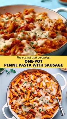 If you are looking for easy one-pot pasta meal recipes, try this one-pot penne pasta with sausage.  This is the easiest and creamiest penne pasta recipe made in a single pot. No-bake! #pennepasta #skilletpasta #onepotpasta #onepotmeal #pasta #sausage #creamypasta #pastawithsausage #pennewithsausage Recipes Using Pasta, Pasta Recipes Video, Penne Pasta Recipes, Healthy Pasta Recipes, Healthy Pastas, Dinner Party Recipes, Lunch Recipes, Beef Recipes, Cooking Recipes