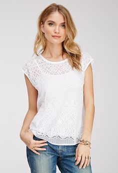 Baroque-Patterned Lace Top | LOVE21 - 2000055816