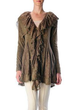 Long Sleeve Sweater Jacket with Ruffle in Beige - Ravishing & Rugged