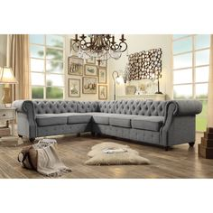 Section off your living area with this elegant tufted sectional sofa.
