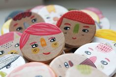 original hand painted wooden brooches