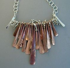 Copper and Silver Necklace- Hand Forged by LauraGuptillJewelry on Etsy