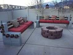 DIY We built outdoor benches and a firepit for a cozy backyard summer area - Imgur