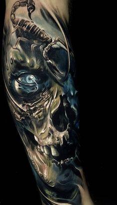 Airbrush body art ideas Ideas for 2019 Skull Rose Tattoos, Skull Hand Tattoo, Skull Sleeve Tattoos, Skull Tattoo Design, Best Sleeve Tattoos, Body Art Tattoos, Hand Tattoos, Insane Tattoos, Creepy Tattoos