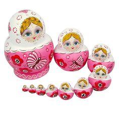 Magnifiques poupées russes en bois de tilleul Rose: Amazon.fr: Cuisine & Maison