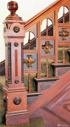 22 Ideas For Wooden Stairs Ideas Newel Posts Stairs Ideas Ideas Newel posts stairs wooden Iron Stair Railing, Stair Handrail, Staircase Railings, Wooden Staircases, Wooden Stairs, Staircase Design, Stairways, Staircase Ideas, Tile Stairs