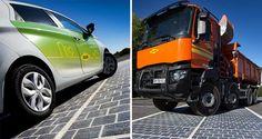 Quand la route devient centrale photovoltaïque - Le revêtement est composé de cellules photovoltaïques recouvertes d'un alliage transparent afin de résister au passage des poids lourds. - © Joachim Bertrand / COLAS
