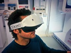 Inition's Allan Rankin trying out GameFace Labs HMD