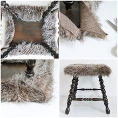 Craftberry Bush   Faux fur foot stool DIY   http://www.craftberrybush.com