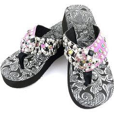 Western Peak Women's Rhinestone Round Mixed Rhinestone Concho and Studs Multicolor Pink and Green and Black PU Sandal Flip Flop ** Check this awesome product by going to the link at the image.
