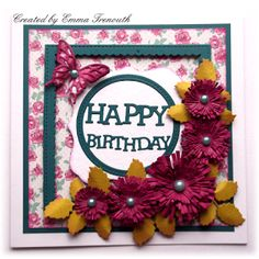 Female Floral birthday card, Sue Wilson cornflower die, sizzix, mama elephant union square die set. MME Kate & Co papers