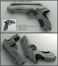 Polar Bear - scifi handgun by peterku energy plasma pistol gun equipment gear magic item | Create your own roleplaying game material w/ RPG Bard: www.rpgbard.com | Writing inspiration for Dungeons and Dragons DND D&D Pathfinder PFRPG Warhammer 40k Star Wars Shadowrun Call of Cthulhu Lord of the Rings LoTR + d20 fantasy science fiction scifi horror design | Not Trusty Sword art: click artwork for source