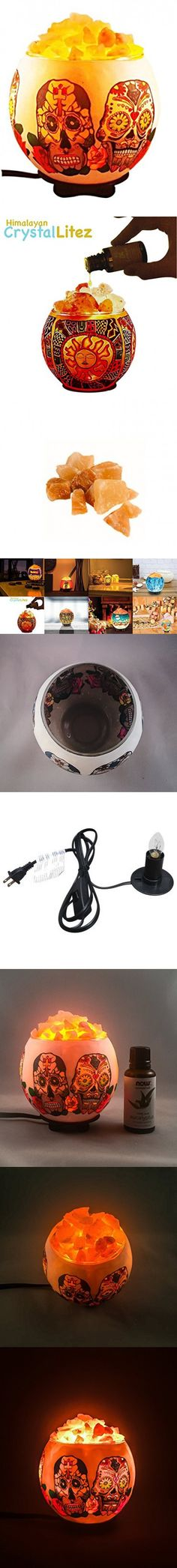 Himalayan CrystalLitez Natural Himalayan Salt Lamp in A Handcrafted and Unique Artisan Bowl,Natural Air Purifier and Aromatherapy Salt Lamp (Sugar Skull)
