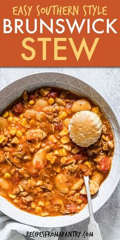 Easy Brunswick Stew is a delicious well-rounded meal served in a bowl! This is a quick-cooking, budget-friendly meal that is hearty, filling, and sure to satisfy. This Southern Brunswick stew recipe is made with a handful of basic pantry ingredients and all those leftovers, plus it's super versatile & easily adaptable. A perfect make-ahead meal and meal prep solution. Click through to get this Brunswick stew recipe!! #stew #dutchoven #southern #southernrecipe #brunswickstew #mealprep… Slow Cooker Recipes, Crockpot Recipes, Soup Recipes, Southern Recipes, Southern Food, Southern Style, Southern Brunswick Stew Recipe, Make Ahead Meals, Easy Meals