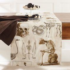 Halloween Skellie Toile Table Runner #williamssonoma