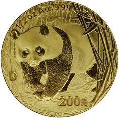 2001D Gold Panda 200 Yuan MS