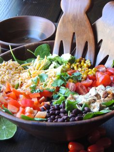 Southwestern Cobb Salad with Chipotle Ranch Dressing-A Mexican twist on a classic salad, spiced up with an easy homemade dressing. This salad is so colorful and bursting with flavor and nutrients.