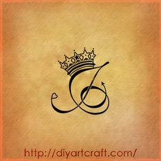 J tattoo with crown