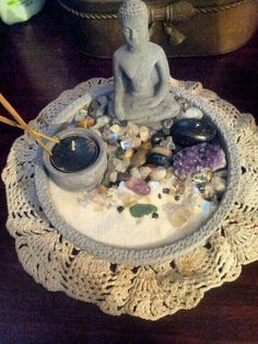 precious little zen garden with crystals <3