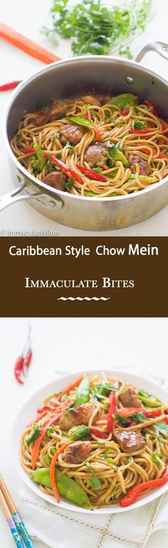 Caribbean -Style Chow Mein - Chicken marinated with green seasoning , loaded with vegetables and chicken.So much better than take out version.