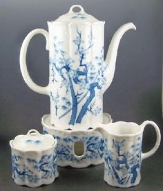 Ornately Molded Rosenthal Coffee Set (Pot, Warmer Stand, Creamer, Sugar), Ming Pattern Asian Florals, 1977-84