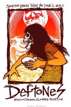 Deftones – Orlando, FL 2013″ by Jermaine Rogers. 30″ x 20″ Screenprint. Regular Ed of 150 S/N. Rainbow Foil Ed of 30 S/N