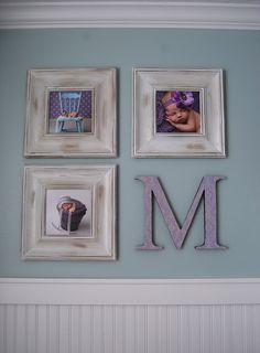 Frames sized 8x8 to 12x12 - find your monogram letter from hobby store - paint it your desired color if needed.  Cute for a nursery or kids room!