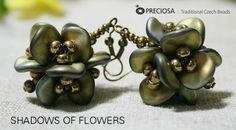 Shadows of Flowers Earrings.  free PDF from Preciosa-Ornela.   ~ Seed Bead Tutorials