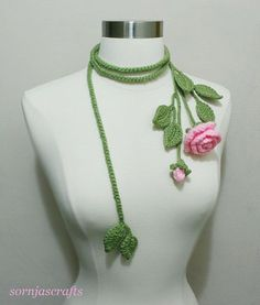Unique Crochet Rose Lariat/ Necklace by SornjasCrafts on Etsy, $21.00
